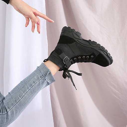 Lace-Up Front Round Toe Color Block Ankle Boots