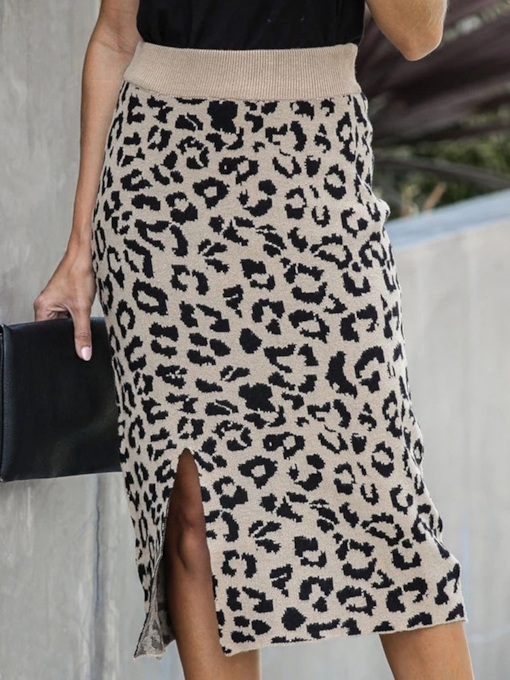Knee-Length Leopard Bodycon Split Casual Women's Skirt
