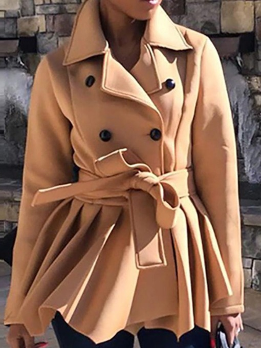 Double-Breasted Slim Mid-Length Women's Overcoat