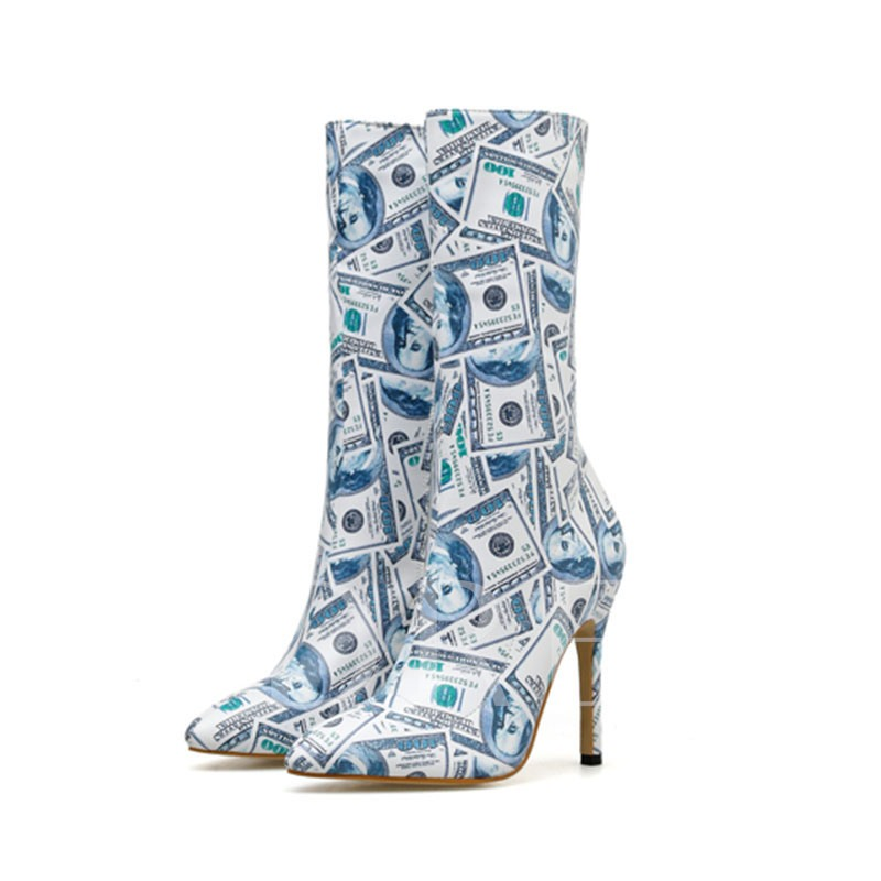 Side Zipper Pointed Toe Prints Stiletto Heel Mid Calf Boots