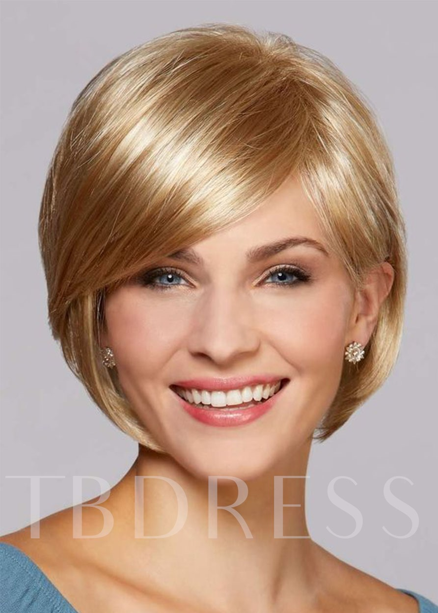 Natural Looking Women's Short Bob Hairstyles Straight Part Side Human Hair Wigs Lace Front Cap Wigs 12Inch