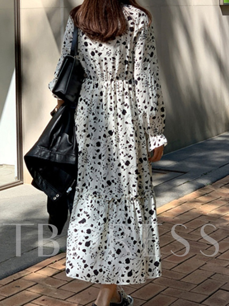 Plus Size Long Sleeve Mid-Calf Bowknot Floral Women's Dress