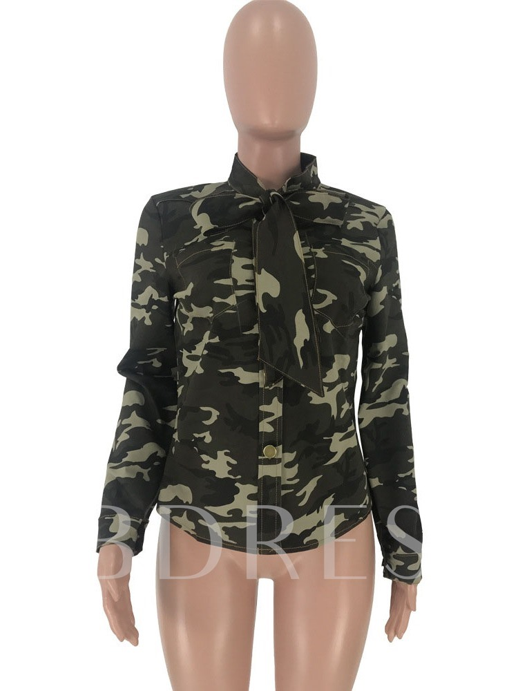 Camouflage Long Sleeve Women's Blouse