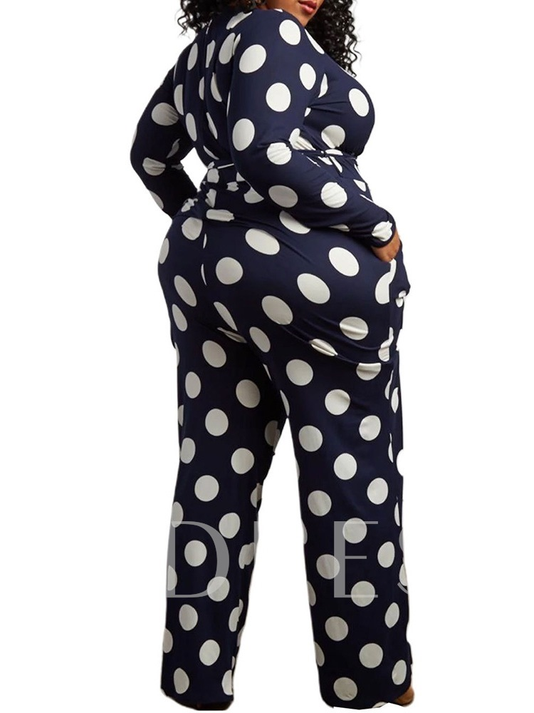Plus Size Full Length Color Block Casual Print Mid Waist Women's Jumpsuit