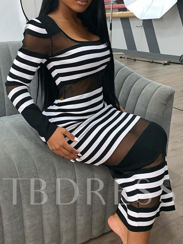 Long Sleeve Scoop Ankle-Length Patchwork Spring Women's Dress