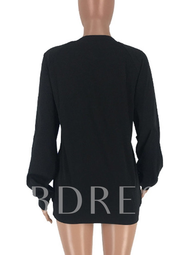 Color Block Mid-Length Long Sleeve Loose Women's T-Shirt