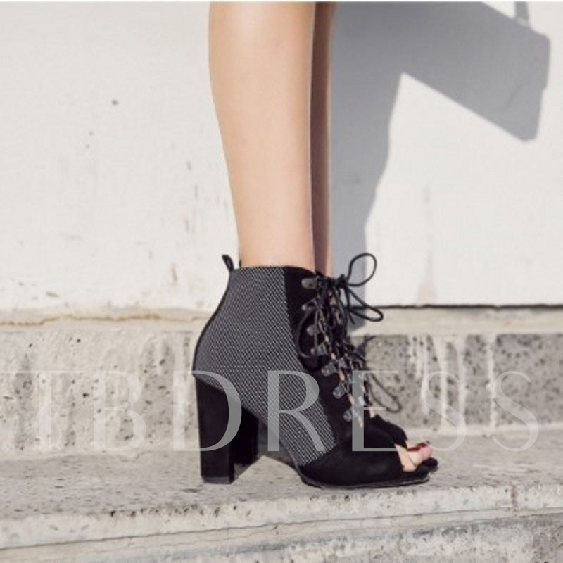 Color Block Lace-Up Front Chunky Heel Peep Toe Booties