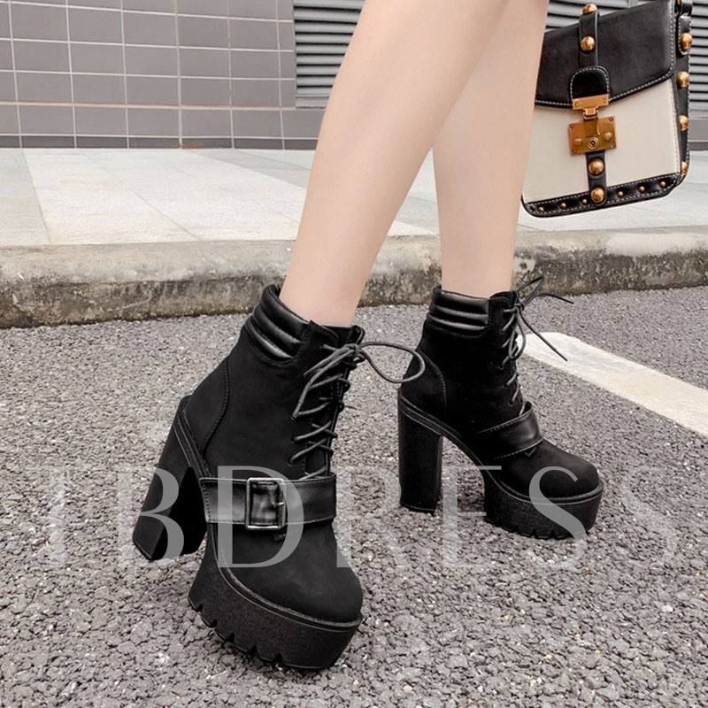 Round Toe Chunky Heel Patchwork Lace-Up Front Ankle Boots