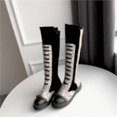 Side Zipper Round Toe Color Block Zipper Knee High Boots
