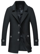 Plain Pocket Mid-Length Korean Men's Trench Coat