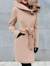 Regular Lace-Up A Line Mid-Length Women's Overcoat