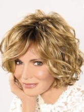 Natural Looking Rooted Color Women's Side Part Wavy Synthetic Hair Wigs Lace Front Cap Wigs 14Inch