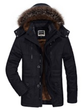 Button Mid-Length Hooded Casual Men's Down Jacket