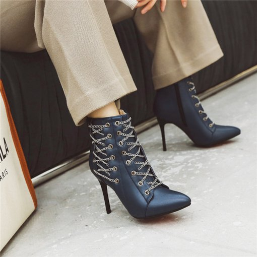 Stiletto Heel Side Zipper Pointed Toe Cross Chain Ankle Boots