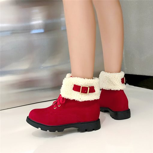 Patchwork Block Heel Faux Fur Lace-Up Front Snow Boots