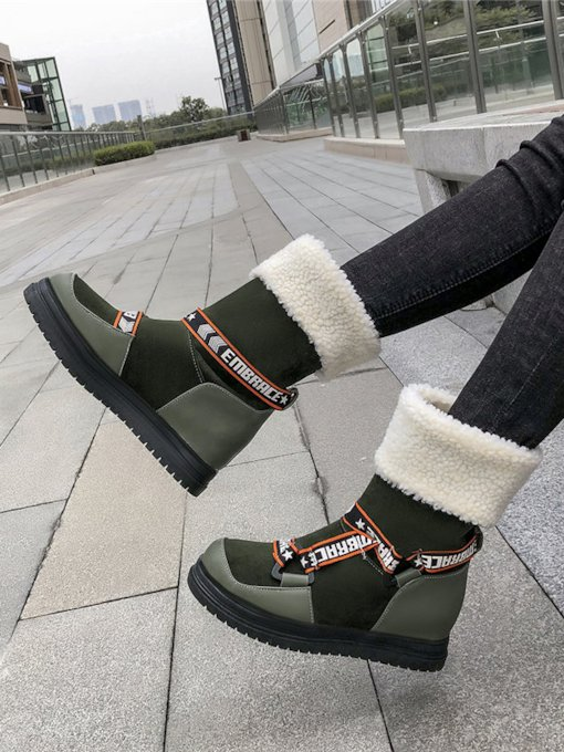 Slip-On Round Toe Patchwork Fashion Snow Boots