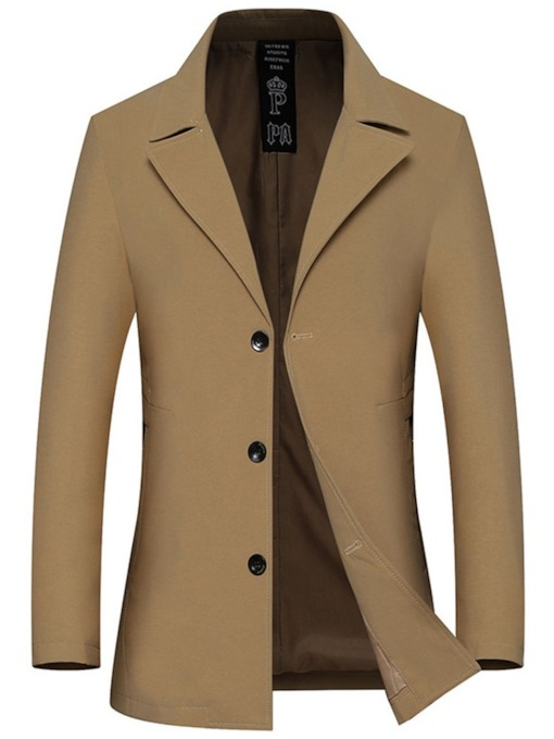 Plain Mid-Length Button Single-Breasted Men's Trench Coat