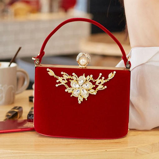 Cotton Rhinestone Banquet Square Clutches & Evening Bags