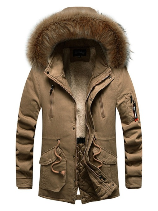 Patchwork Mid-Length Hooded Men's Down Jacket