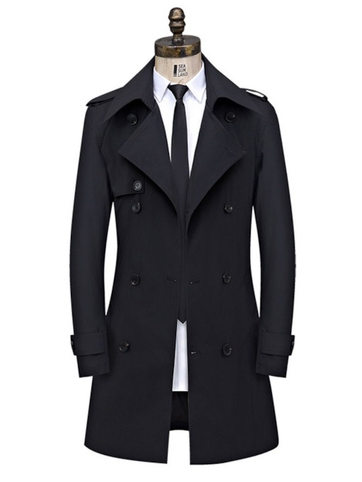 Mid-Length Button Plain Slim Men's Trench Coat