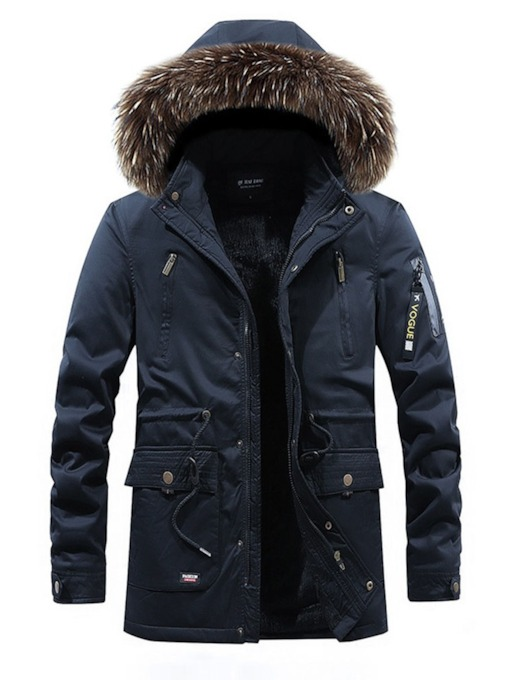 Mid-Length Hooded Plain Zipper Casual Men's Down Jacket