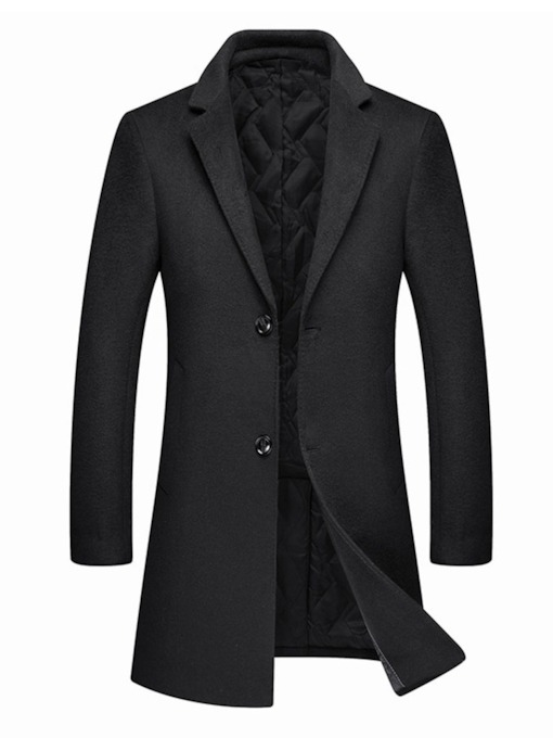 Button Mid-Length Plain Notched Lapel Single-Breasted Men's Coat