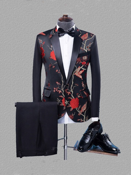 Floral Pants Fashion Button Slim Men's Dress Suit