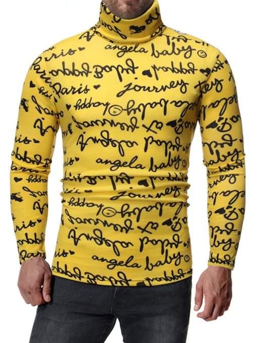 Print Letter Turtleneck Long Sleeve Men's Shirt