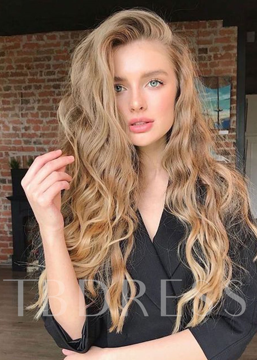 120% Density Women's Long Length Blonde Color Body Wave Natural Looking Synthetic Hair Capless Wigs 24Inch