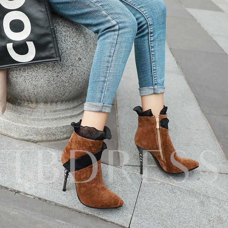 Stiletto Heel Patchwork Pointed Toe Side Zipper Ankle Boots