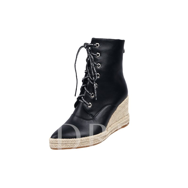 Wedge Heel Pointed Toe Back Zip Cross Strap Ankle Boots