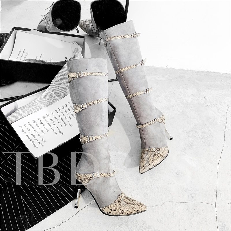 Stiletto Heel Pointed Toe Side Zipper Knee High Boots