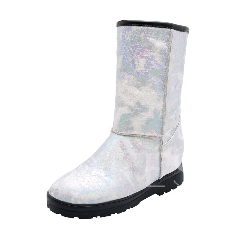 Round Toe Color Block Slip-On Mid Calf Snow Boots