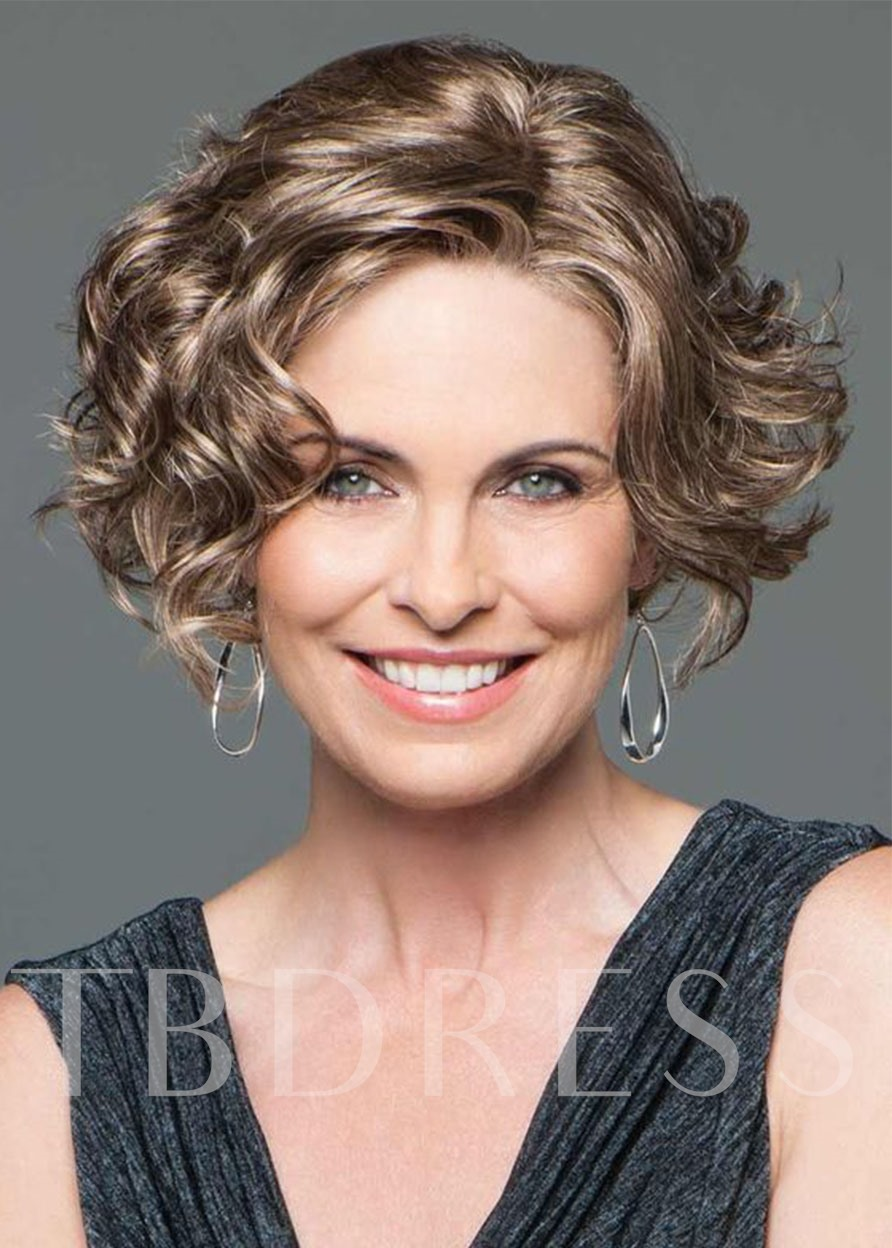 Women's Face Framing Side Part Short Hairstyles Synthetic Hair Wigs Rose Capless Wigs 14Inch