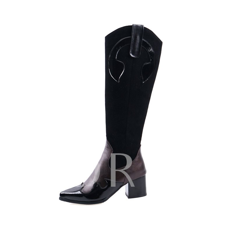 Color Block Pointed Toe Side Zipper Vintage Knee High Boots