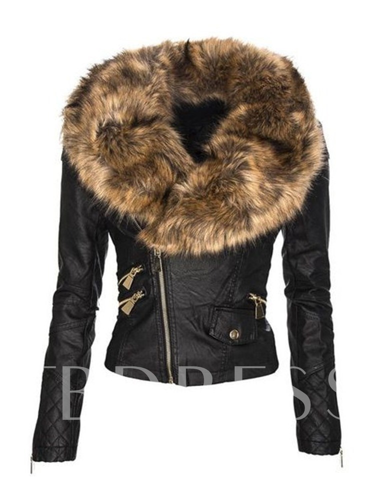 Zipper PU Slim Standard Winter Women's PU Jacket