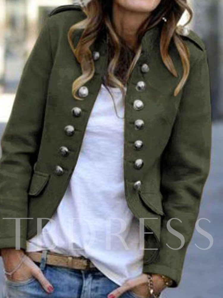 Nine Points Sleeve Plain Stand Collar Double-Breasted Fall Women's Casual Blazer