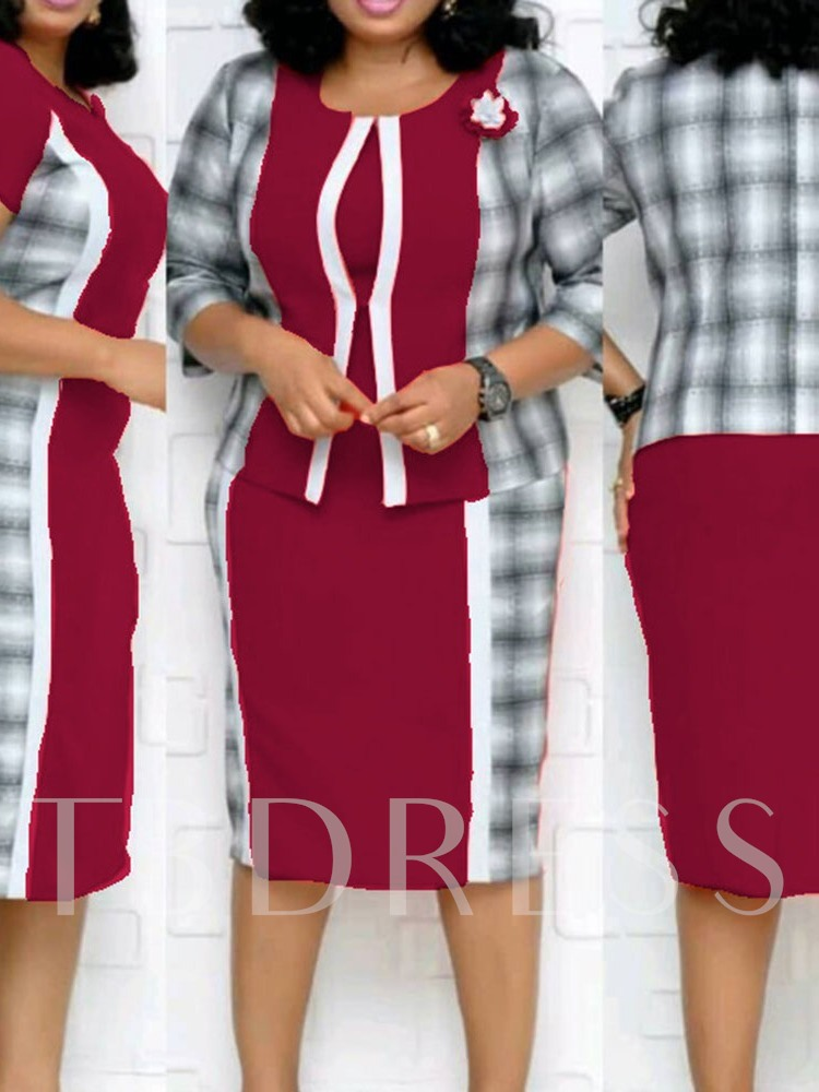 Plus Size Patchwork Short Sleeve Mid-Calf Elegant Women's Dress