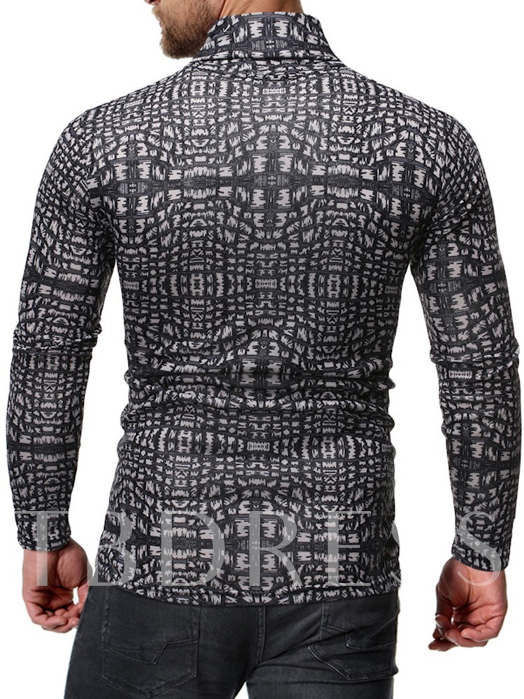 Turtleneck Casual Color Block Print Long Sleeve Men's Shirt