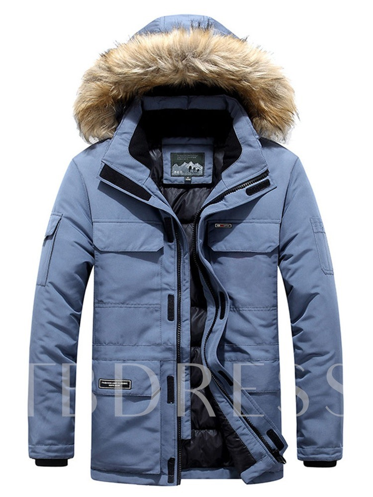 Color Block Patchwork Casual Hooded Men's Down Jacket