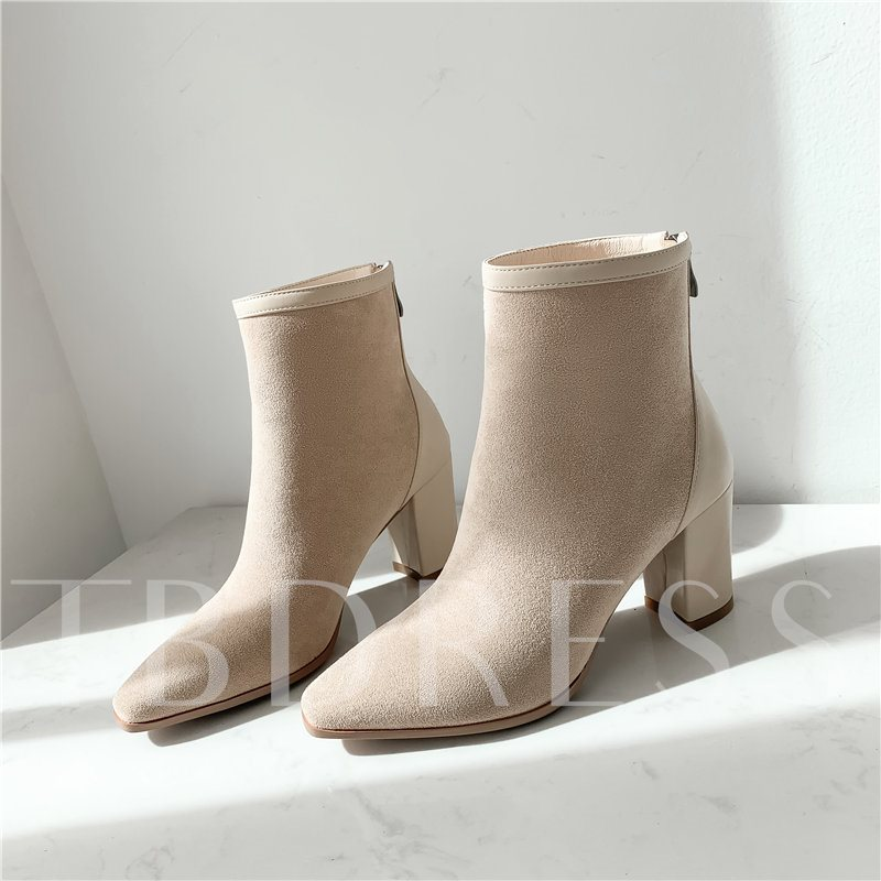 Square Toe Back Zip Plain Chunky Heel Casual Ankle Boots