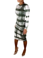 Round Neck Print Long Sleeve Mid-Calf Spring Women's Long Sleeve Dress