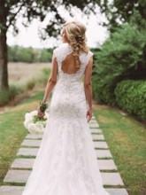 V-Neck Cap Sleeves Appliques Wedding Dress 2019