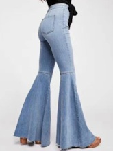 Washable Bellbottoms Plain Slim Fashion Women's Jeans