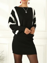 Above Knee Off Shoulder Long Sleeve Stripe Women's Sweater Dress