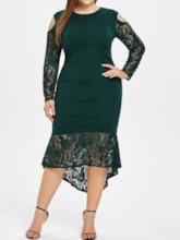 Plus Size Patchwork Long Sleeve Round Neck Mid-Calf Pullover Women's Dress
