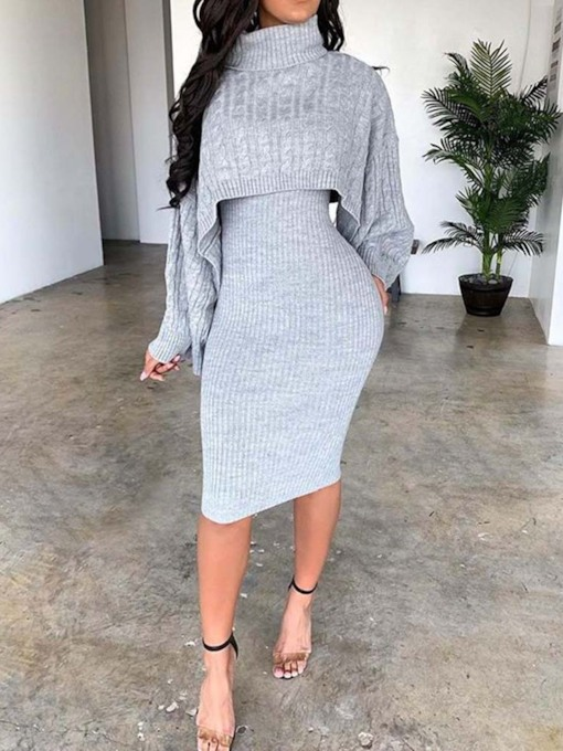 Casual Sweater Plain Turtleneck Women's Two Piece Sets