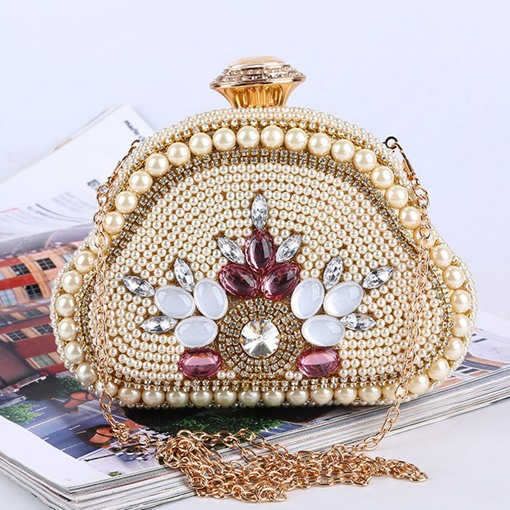 Satin Beads Rhinestone Clutches & Evening Bags