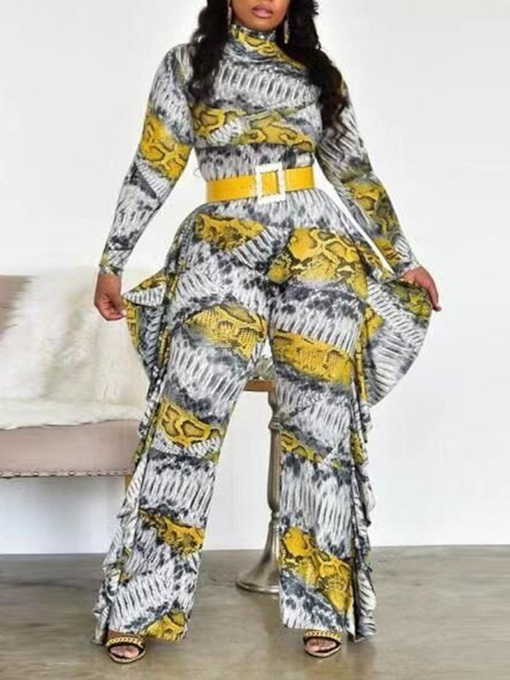 Casual Print Color Block Full Length High Waist Women's Jumpsuit
