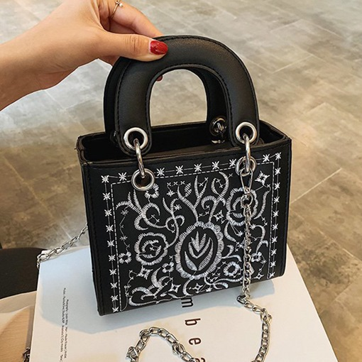 Chain Floral Embroidery Rectangle Tote Bags
